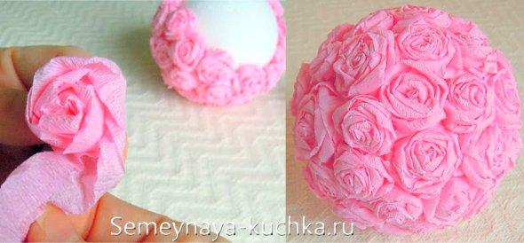 роза из креповой бумаги
