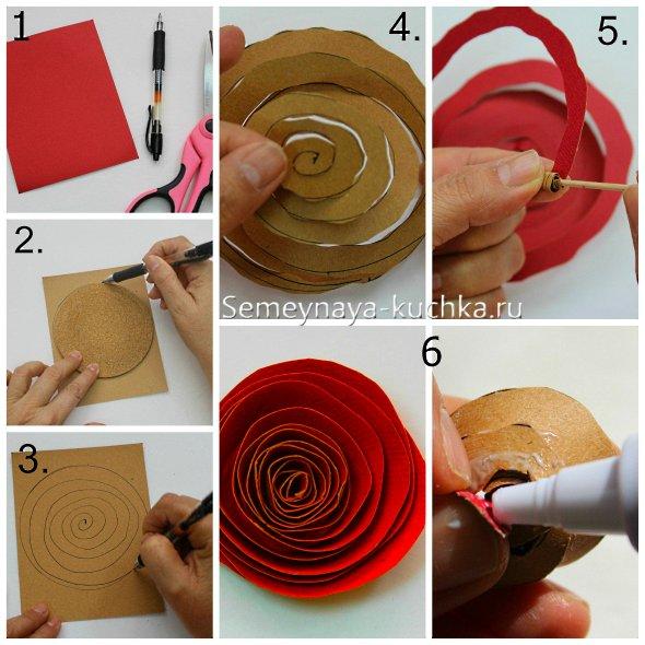 как сделать розу из бумаги и картона