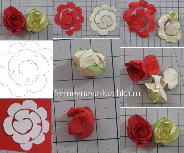 чертеж роза из бумаги