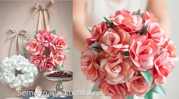 поделка розы из бумаги