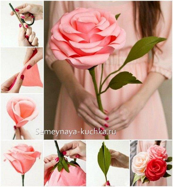 как делать розу из бумаги цветной
