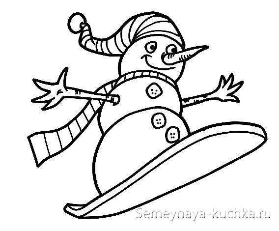 вышивка на новый год снеговик