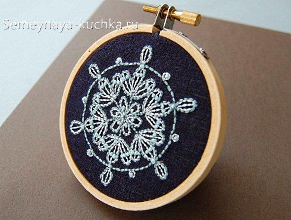 вышивка на новый год снежинка