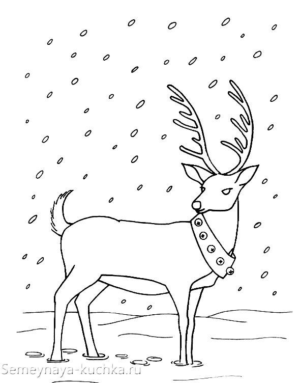 олени новогодний вышивка