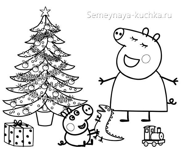 вышивка свинка пеппа на новый год