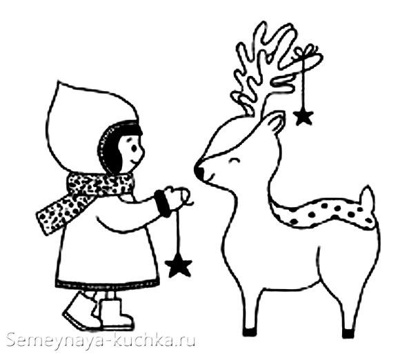 вышивка мулине на новый год олень