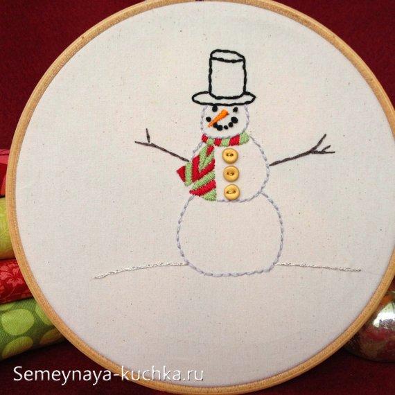 вышивка снеговик на новый год