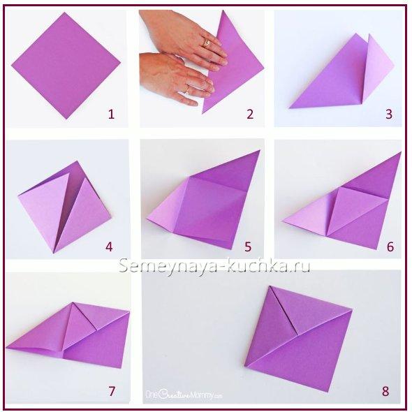 схема сборки закладки для книг оригами