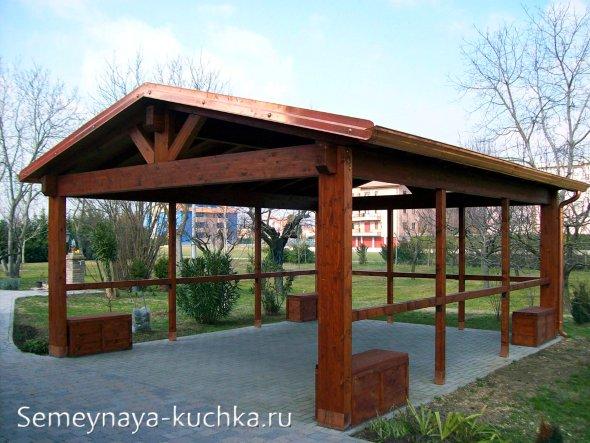 двускатная крыша на беседку дачную