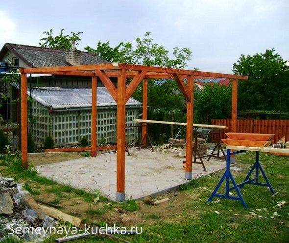 мастер-класс как сделать беседку с двускатной крышей