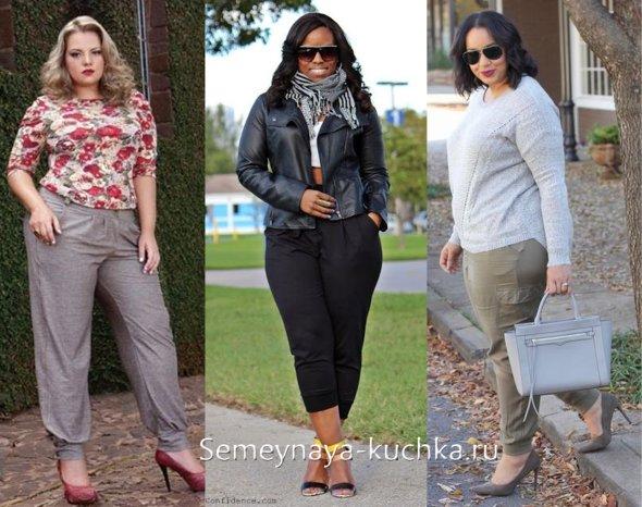 брюки с манжетами широкие для полных женщин