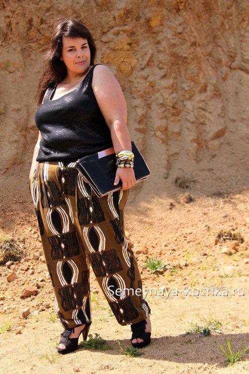 шелковые брюки на резинке