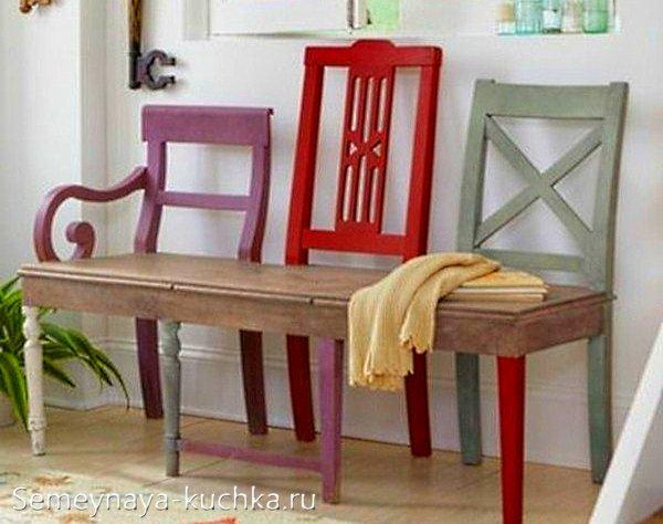 скамейка из стульев на дачу