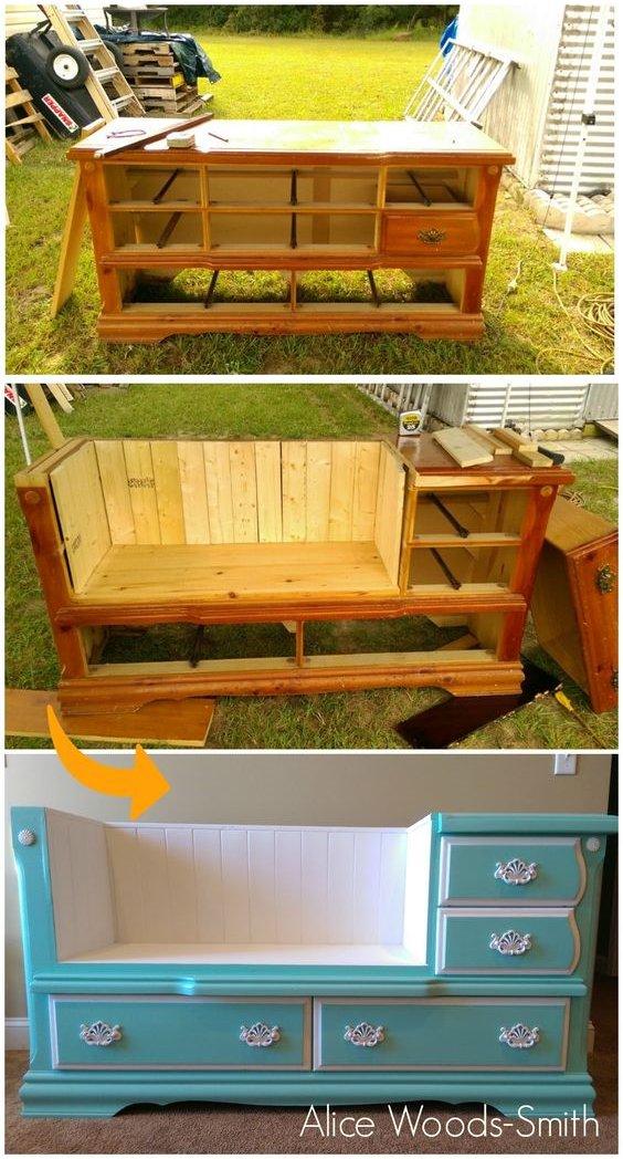 садовая скамейка из старого комода