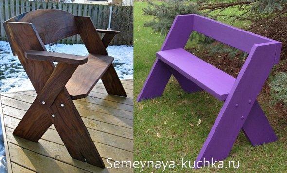 простая скамейка с чертежом для дачи