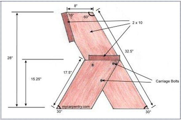чертеж скамейки своими руками