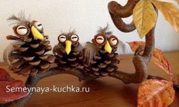 поделки совы из природного материала