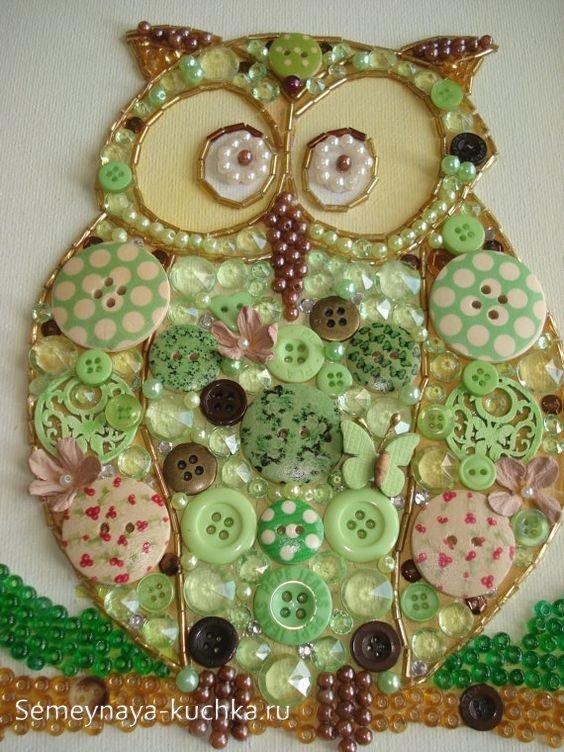 сова поделка мозаика из пуговиц