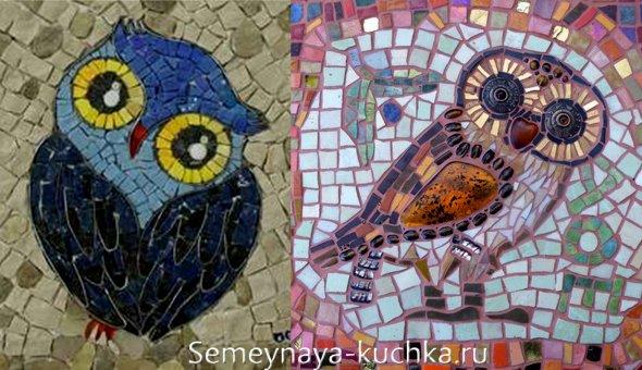 поделка сова мозаика из плитки