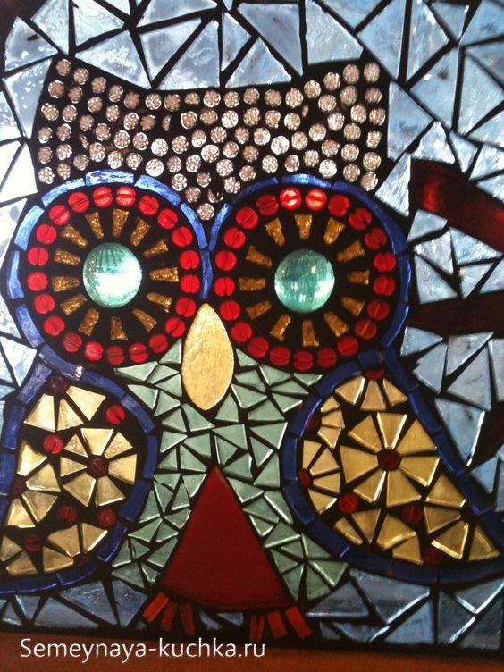 поделка сова мозаика