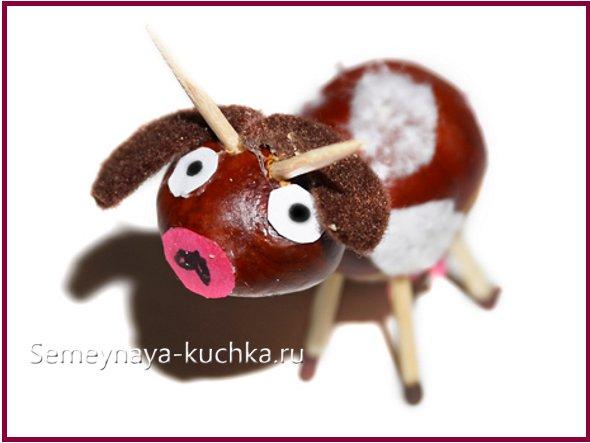 корова из каштанов детская поделка