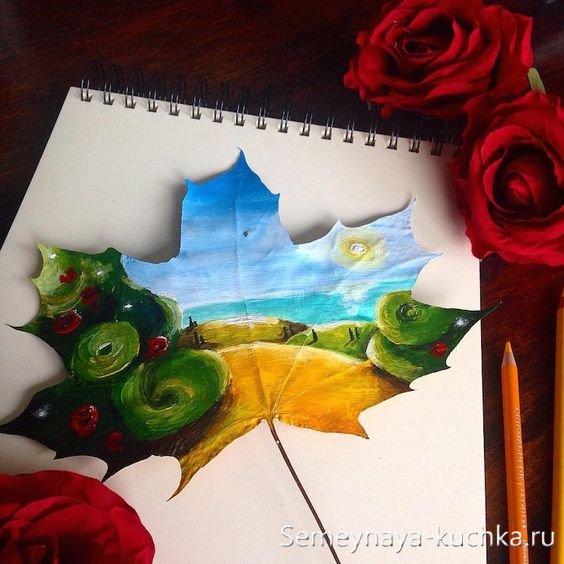 картины красками на листьях
