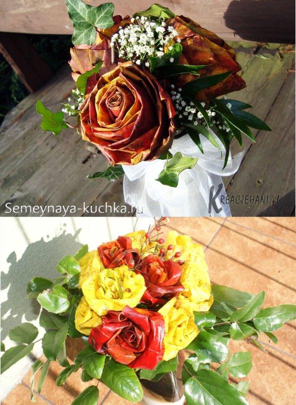 розы из листьев своими руками
