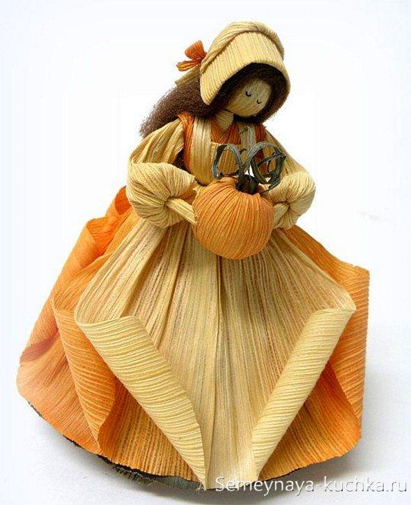 осенние поделки куклы из сухих листьев