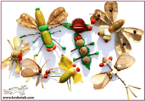поделка насекомые из желудей