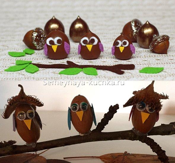 поделки детские птички из желудей