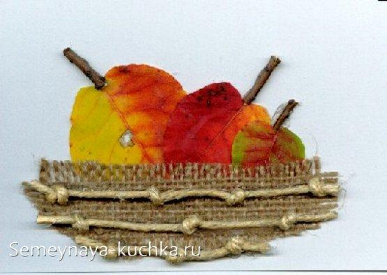аппликация из листьев на тему яблоко