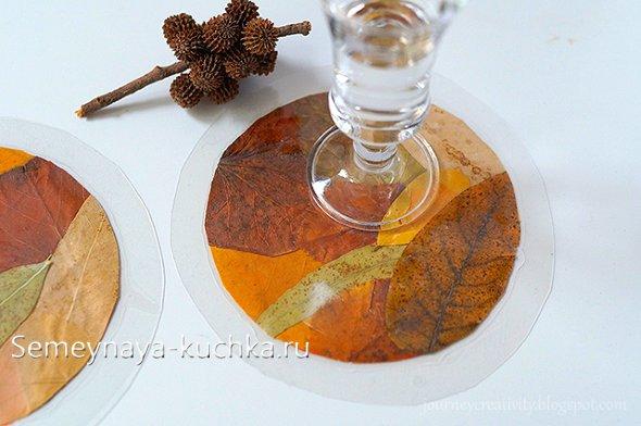 поделка из листьев осенью