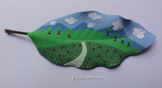 картина на листьях