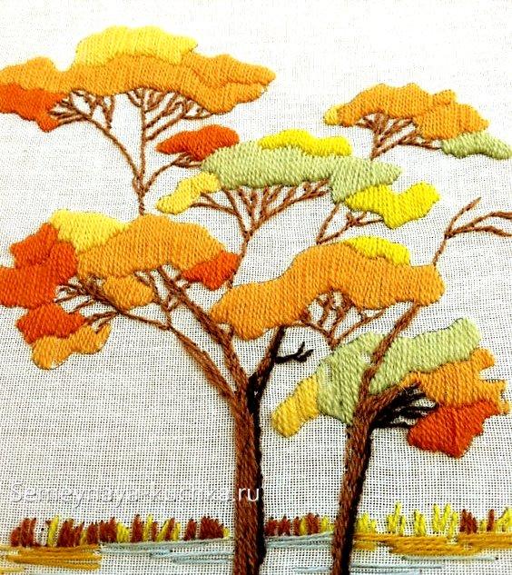 вышивка на осень поделка