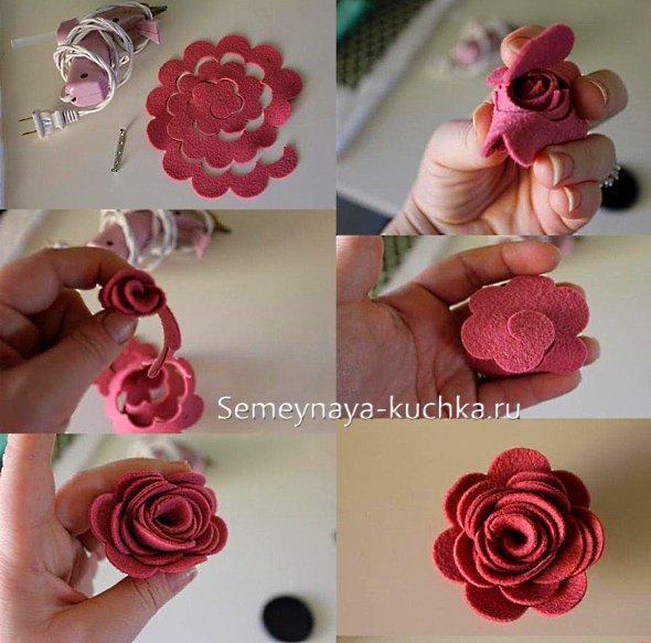 мастер-класс роза из фетра