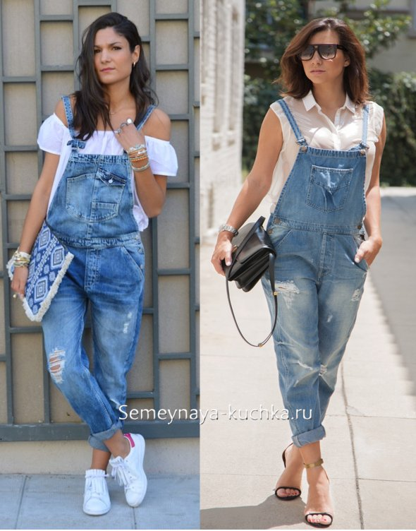 комбинезон джинсовый для женщин с животом и складкой на боках
