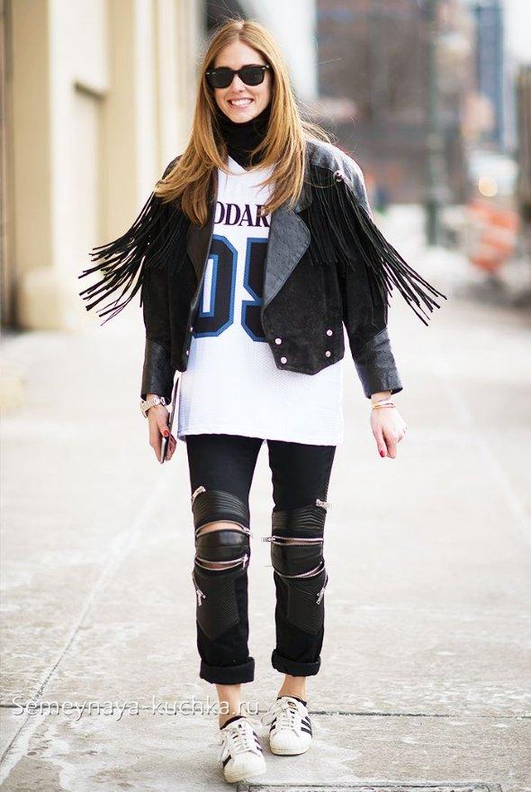 стиль спорт шик с майкой и курткой из кожи