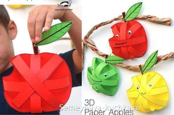 поделка яблоко из бумаги