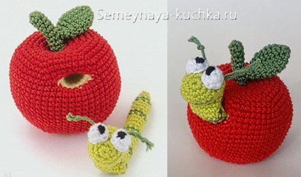 яблоко вязаное крючком