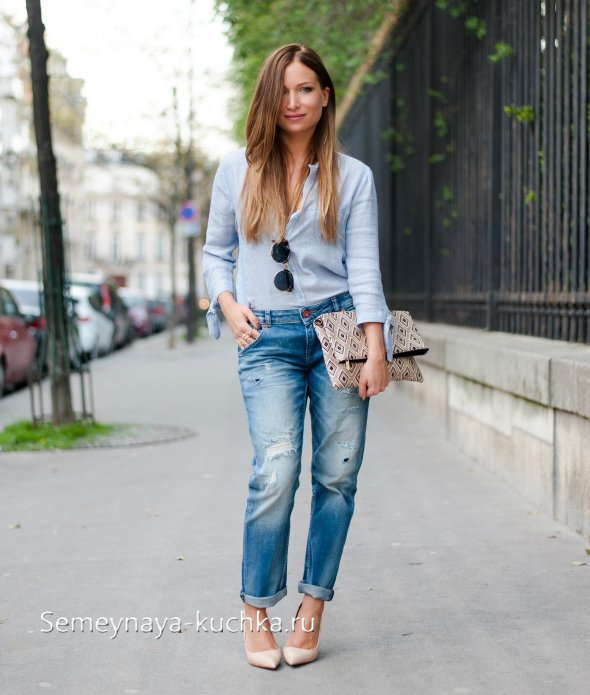 фото лук с джинсами бойфрендами