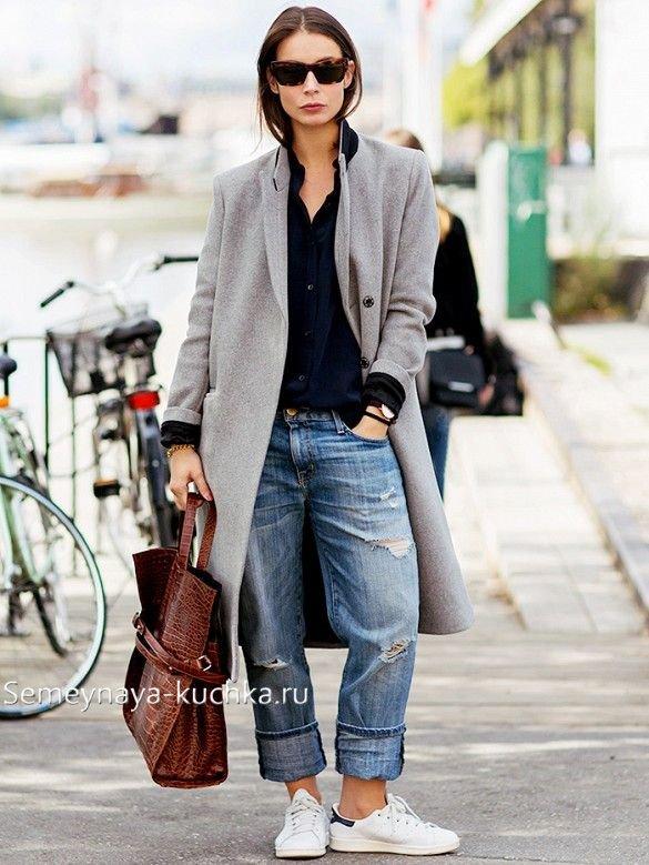 как носить джинсы бойфренды с пальто