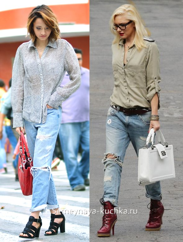 голубые джинсы бойфренды с рубашкой