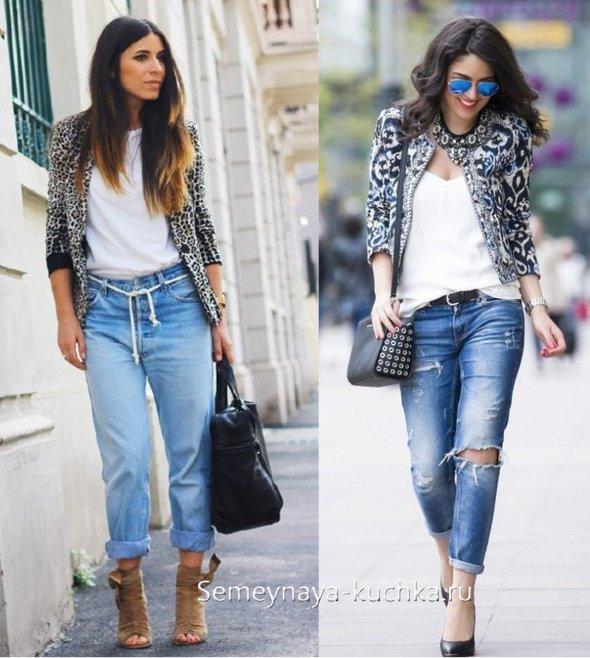 как носить джинсы бойфренды с пиджаком