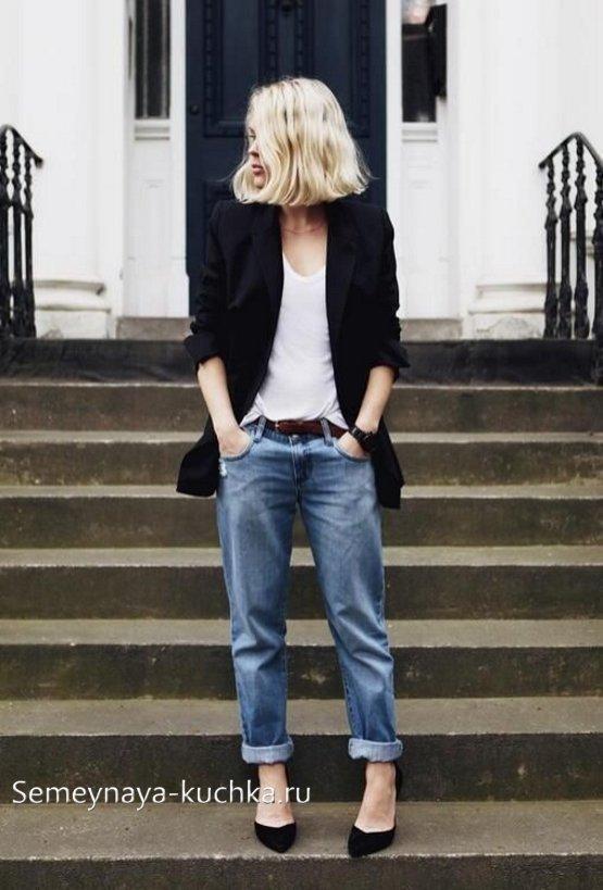 темные джинсы с пиджаком
