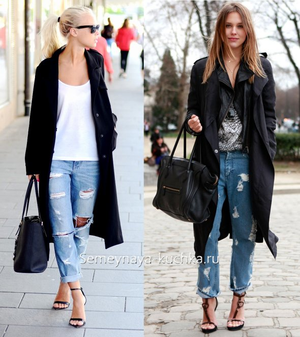 пальто с джинсами бойфрендами
