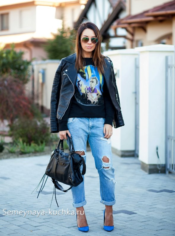 джинсы бойфренды с дырками