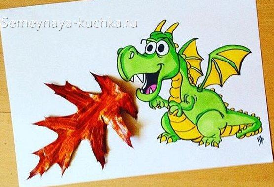поделка детская из осенних листьев