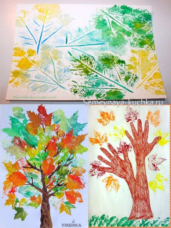 детская поделка красками осень