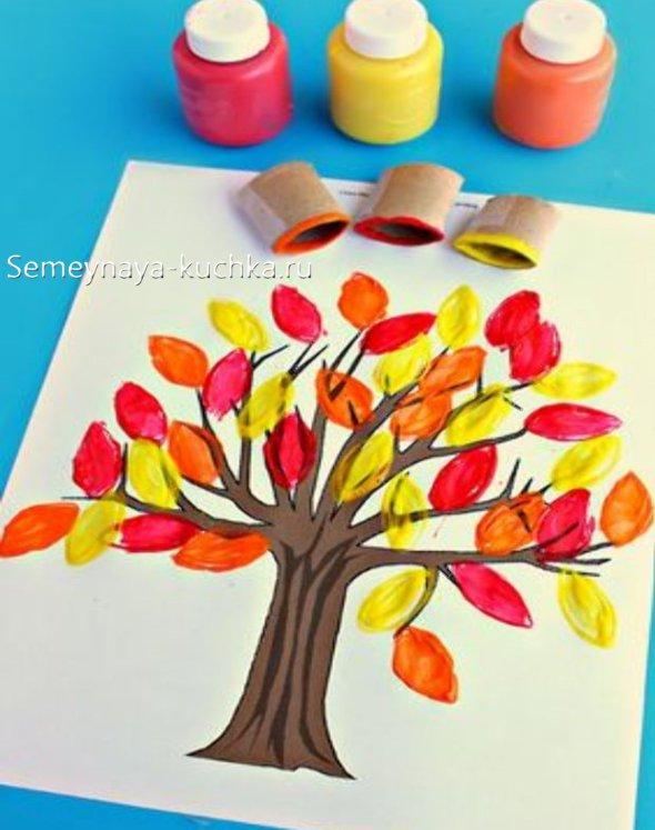 детская поделка осеннее дерево