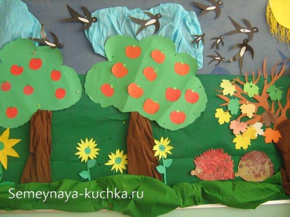 детская осенняя поделка яблоневый сад